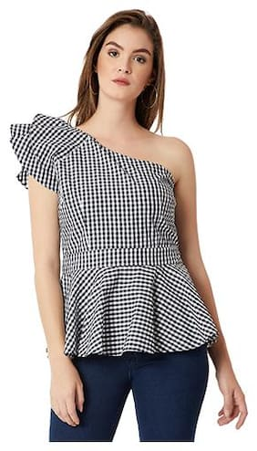 Women Checked One shoulder Top