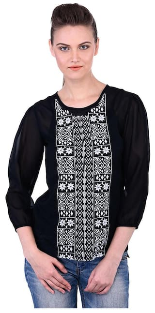 94a9241521ab9 Buy Women Black Embroidered Top Online at Low Prices in India ...