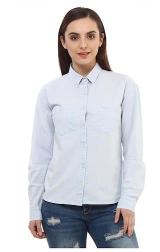 Women Blue Cotton Shirt