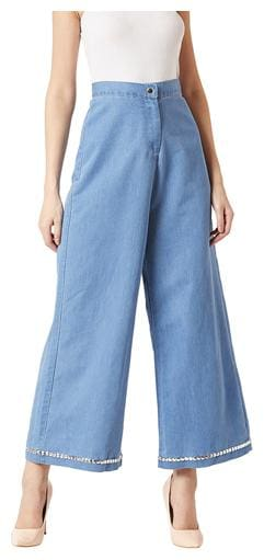 Miss Chase Women Blue Flared fit Regular trousers