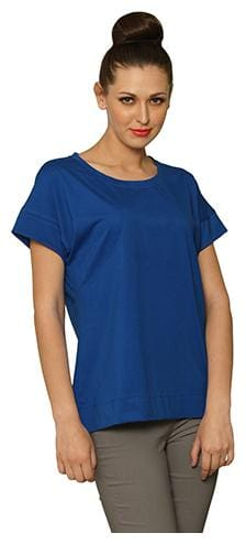 Miss Chase Women Solid Boxy top - Blue