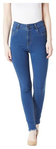 Miss Chase Women Skinny Fit High Rise Washed Jeans - Blue