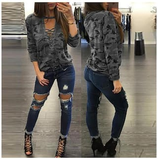 Women Camouflage Low Cut Top Hollow Out Strap Long Sleeved Shirt