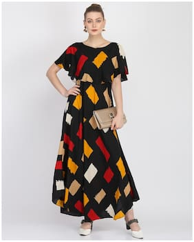 O Madam Black Printed Maxi dress