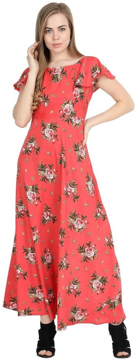O Madam Red Floral Fit & flare dress