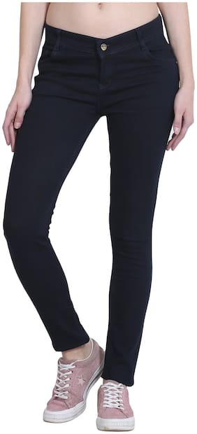 Women Carbon Blue Skinny Fit Mid-Rise Clean Look Stretchable Jeans