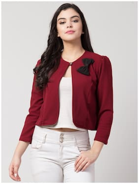 Arbiter Collection Women Maroon Solid Regular Fit Shirt