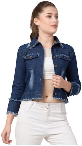 Arbiter Collection Women Solid Denim Jacket - Blue