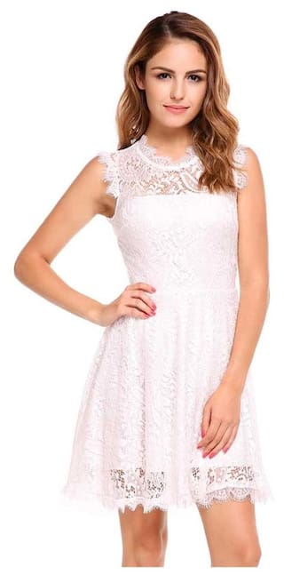Women Casual O-Neck Sleeveless Floral Lace Hollow Out Backless A-Line Pleated Hem Dress