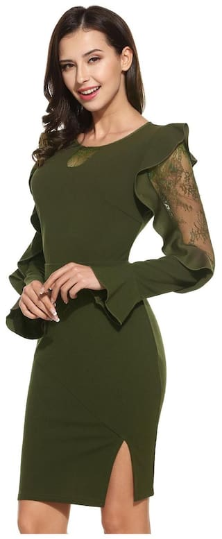 Women Casual O Neck Sleeve Patchwork Lace Flare Dress Pencil Long UPAarqwU