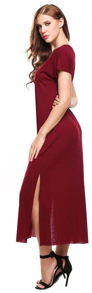 Solid Loose Neck T Casual Sleeveless Shirt Women Dress V qEOxAgvww