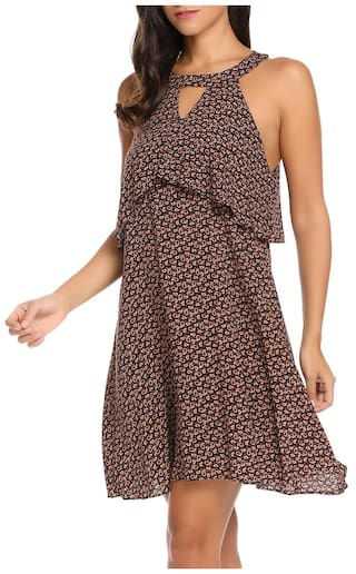 Cocktail Neck Print Casual up Formal Sleeveless Dress Loose Mini Lace O Women wg0IEqq