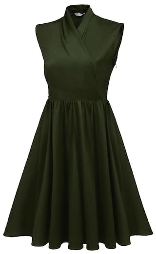 Sleeveless Dress Cocktail Pullover Women Elegant Solid Casual Party Collar Green Stand xAPzawP
