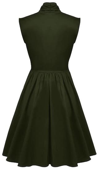 Stand Pullover Green Collar Dress Elegant Casual Cocktail Sleeveless Women Party Solid 4vwptvxX