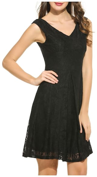 Lace Black Backless Swing Sleeveless Betterlife Dress Neck V Floral Women Casual TYwvqS1