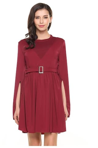 Sleeve Casual Sleeve Belt Line A Dress O Long With Solid Women Pleated Slit Neck ESdx6q6Xw