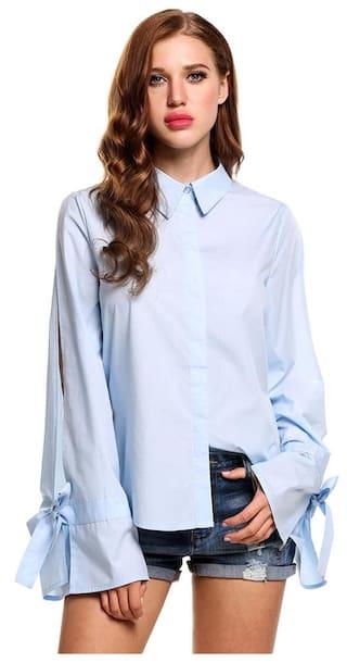 Women Casual Turn-down Collar Bow Bandage Long Slit Flare Sleeve Circular Arc Hem Solid Button-down Shirts