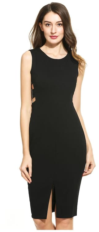 Bodycon Slim Neck Slit Solid Casual Women Sleeveless Black Dress O IxBwqWFXn0