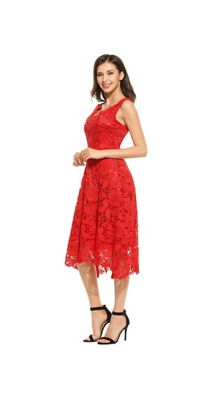 Swing Women Sleeveless Neck Elegant Dress Bridesmaid Casual Lace Floral Red V r8rwSq
