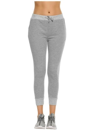 Elastic Drawstring Casual Tracksuit Cropped Waist Solid Pants Women 7pxE6