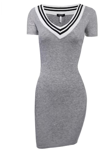 Betterlife Women Casual Short Sleeve Rib Fabric Slim V Neck Pullover Pencil Knit Dress-Gray