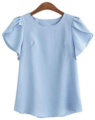 FABRANGE Women Solid Regular top - Blue