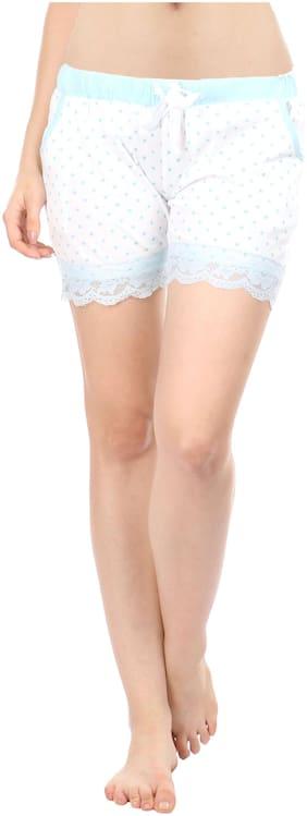 Semantic Women Cotton Printed Shorts - Blue