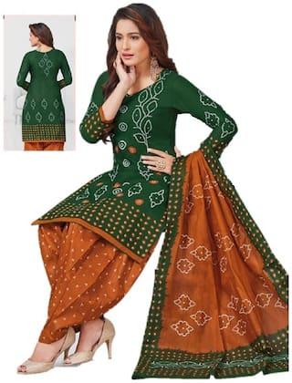 BHAGAVA Green Unstitched Kurta with bottom & dupatta With dupatta Dress Material