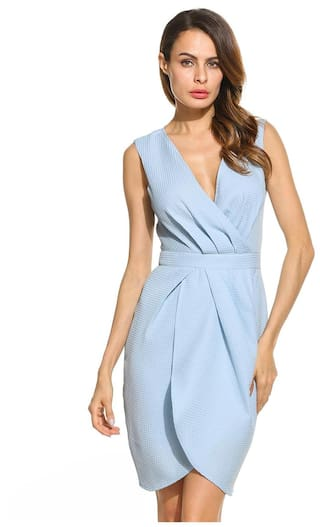 Bridesmaids Draped Front Party Guest Short Neck Women Elegant Sleeveless V Dress Wedidng Wrap t5qxf0SxnZ