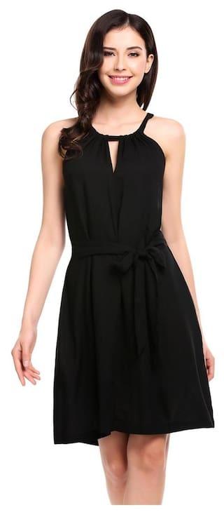 Women Elegant Halter Heyhole Sleeveless Belted Short Dress