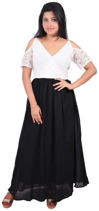 RIVI Black Solid Fit & flare dress