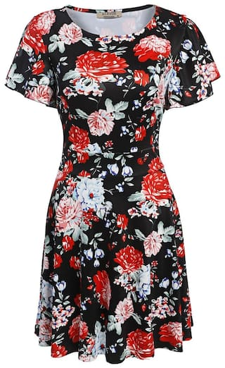 Short A Black Fashion Print Floral Line Vintage Women Short Dress Flare Betterlife Sleeve Style zPOwx58q