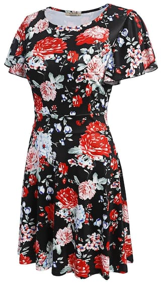A Line Flare Sleeve Women Short Short Betterlife Fashion Print Floral Black Vintage Style Dress 1nxaZg
