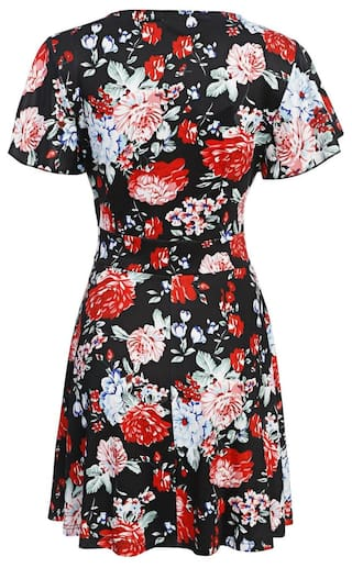 Short Short Flare Women Betterlife Vintage Print Floral Dress Black Sleeve Fashion Style Line A dXPXqxw6I
