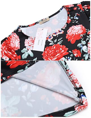 Dress Sleeve Short Short Black Fashion Betterlife Style Line Floral Women Vintage A Flare Print ST7pxnYPp
