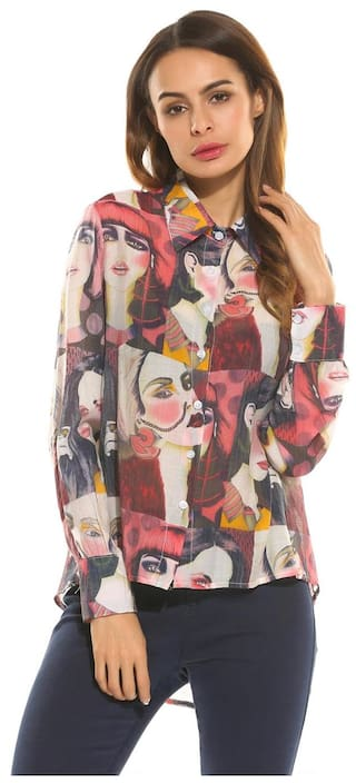 Collar Fashion Sleeve Spread Long Print Asymmetrical Shirt Hem Women BwHPqnEP