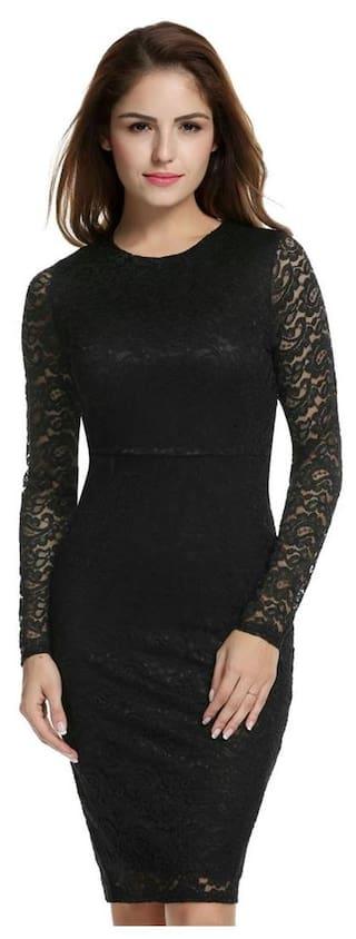 Fashion Short Sleeve Hollow Bodycon Pencil Slim Dress Women Lace Floral Evening Long Party dBpWR