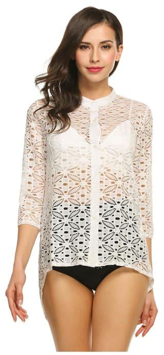Down Betterlife Beach up Button Cover Stand Fashion Women Collar 3 4 Sleeve Hollow Asymmetrical Blouse aaTURwq