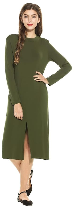 Women Fashion Stand Collar Long Sleeve Solid Front Slit Midi Dress-Army Green