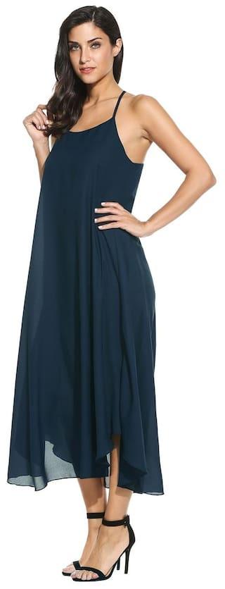 Solid Dress Fashion Women Maxi Chiffon Party Beach Betterlife Halter Green Sleeveless Long q6pxZqw