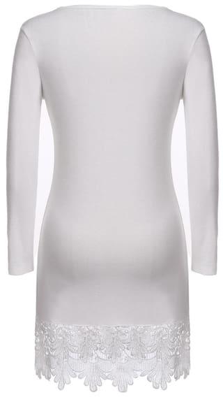 Lace Dress Long Fashion Trimmed Line Women A Short Casual Sleeve TqZUPIxIvn