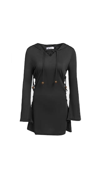 V Women Neck Long Mini Fashion Hoodie Solid Lace Up Sleeve Dress xTrRxw