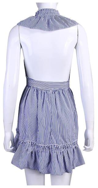 One Fashion Wear M piece Women Flouncing Women Hollow Striped Dress Summer OATXTBx