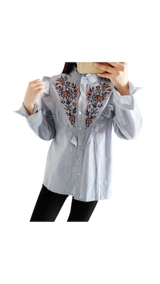 Tops Floral Long Blouse Sleeve Striped Women S Shirt Embroidered AZ1q1a0