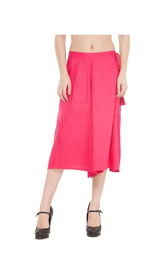 Fushcia Flared Solid Rayon Women Culuttoes qaw6y1yZ