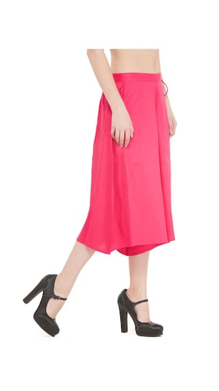 Women Rayon Flared Fushcia Solid Culuttoes CqCvUY0