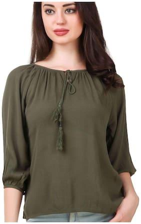 FAIRIANO Women Solid Regular top - Green