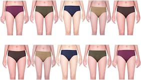 MRB Pack Of 10 Solid High Waist Hipster Panty - Multi