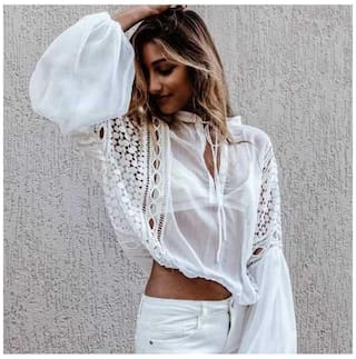 Long Shirt Sleeve Women Lace Chiffon Stitching V Loose Neck Blouse tx7q7S