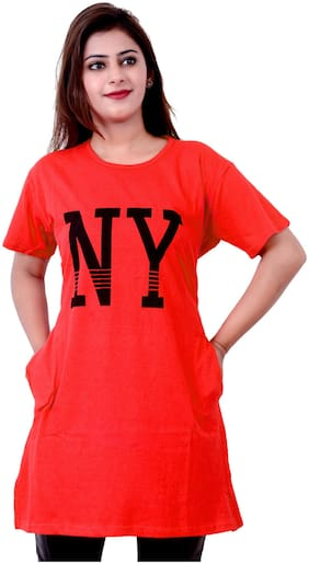 A.G FASHION Women Red Loose fit Round neck Viscose rayon T shirt